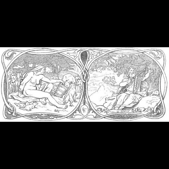 Une vieille femme avec des loups et Eggthér le berger