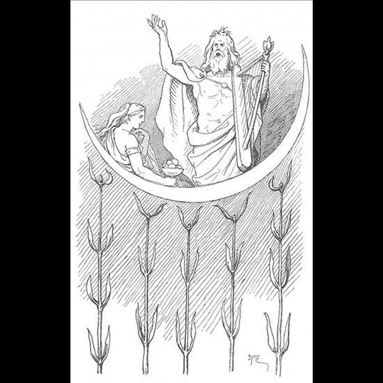 Bragi le dieu des Scaldes et sa femme Idunn