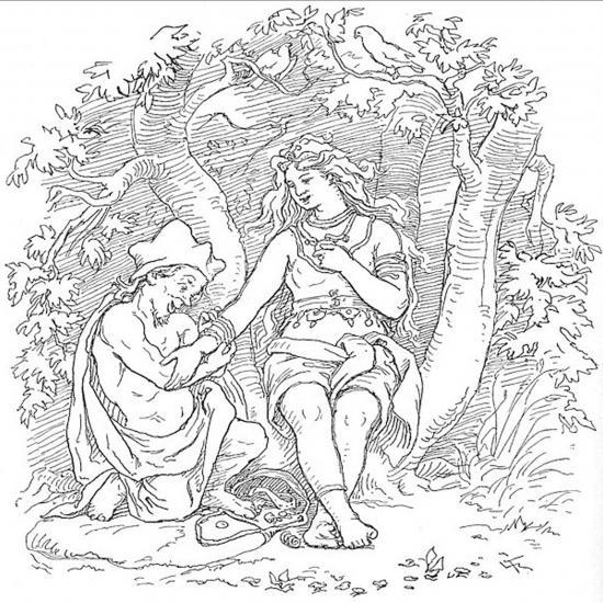 Le nain Alviss met un anneau autour du bras de Þrúðr