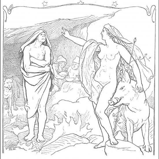 Freyja et son sanglier Hildisvíni s'adresse à Hyndla