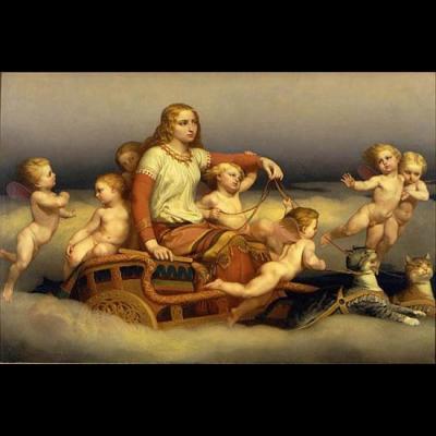 Freyja et ses chats entourés d'anges