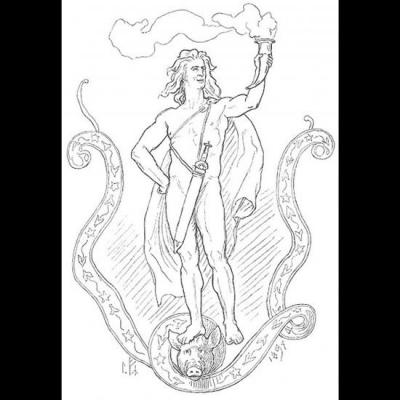 Óttar, le fidèle servant de Freyja, sur la tête du sanglier Hildisvíni