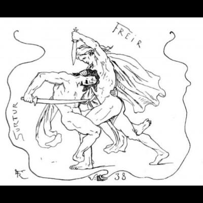Freyr et Surtr se battent au Ragnarök