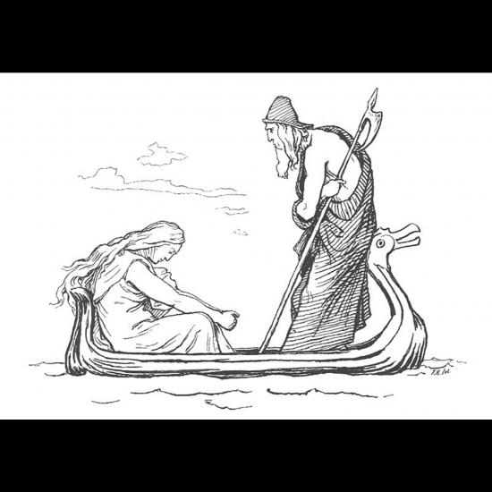 Frigg and son époux Odin affligés par la mort de leur fils Baldr