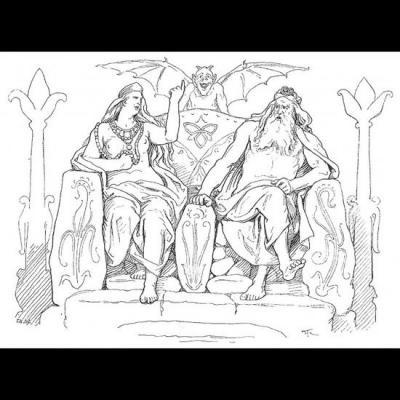 Frigg and son époux Odin à Hliðskjálf