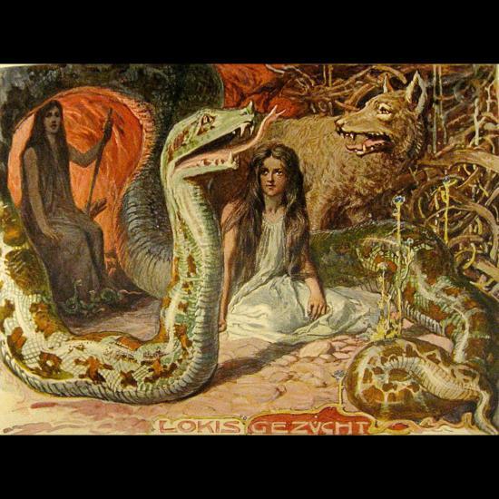 Les enfants de Loki, Hel, Fenrir et Jörmungandr et leur mère Angrboda