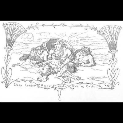 Odin, Hoenir et Lóðurr créent Askr et Embla