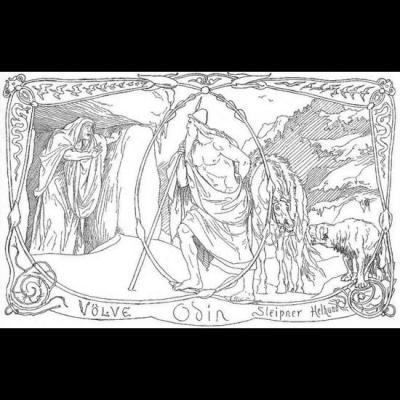 Odin et son cheval Sleipnir rencontrent une völva sans nom à Hel