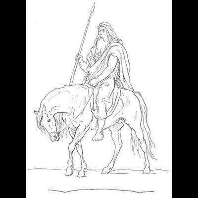 Odin sur Sleipnir tient la lance Gungnir