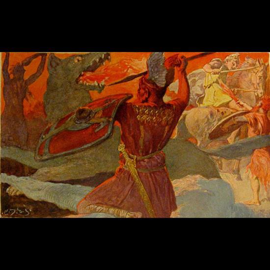 La lutte entre Odin et le loup Fenris et le combat de Frey et Surt