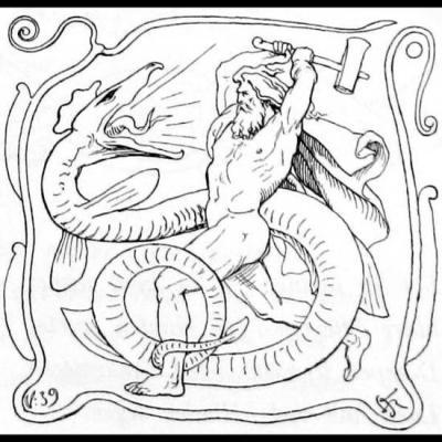 Thor et Jörmungandr durant le Ragnarök