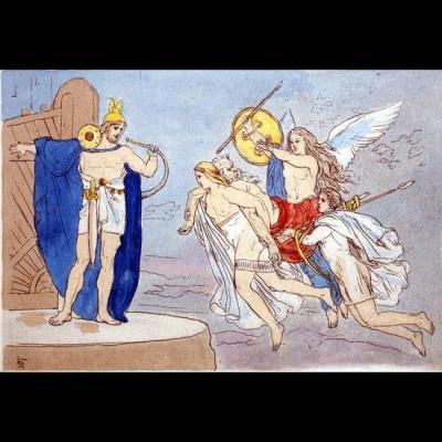 Les valkyries emportant un guerrier au Valhalla et Heimdall
