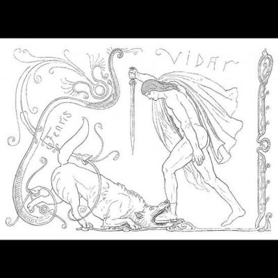 Víðarr écrase le loup Fenrir de sa botte puissante