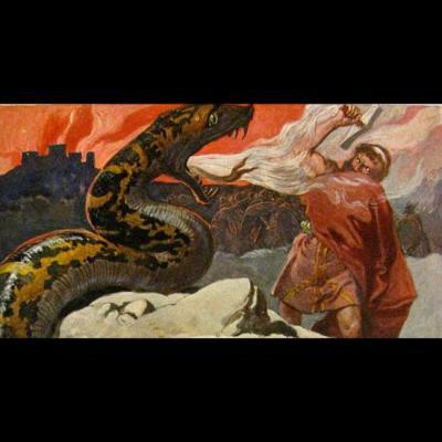 Le combat final entre Thor et Jörmungandr