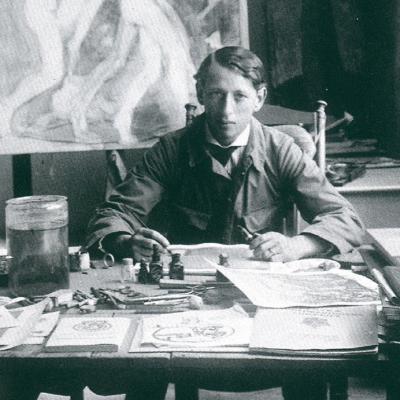 John Bauer dans son atelier