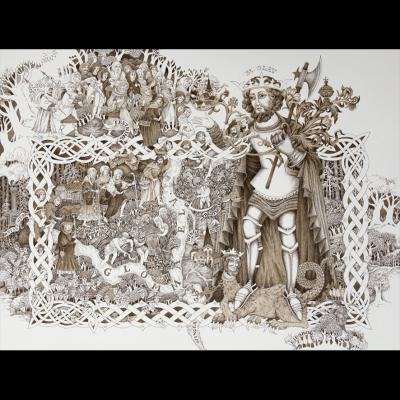 St Olav med pilgrimer