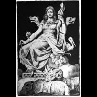 Frigga déesse du mariage et de la maternité -illustration de Myths of Northern Lands par H.A.Guerber-1895, auteur inconnu