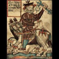 Odin sur son cheval Sleipnir (image extraite d'un manuscrit islandais du XIIIème siècle)