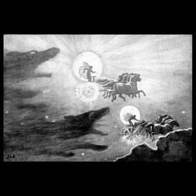 Sol et Mani poursuivis par les loups, par John Charles Dollman