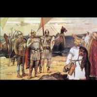 Arrivée à Ladoga de Riourik et ses frères, Trouvor et Sineus, par Apollinary Vasnetsov (1856-1933)