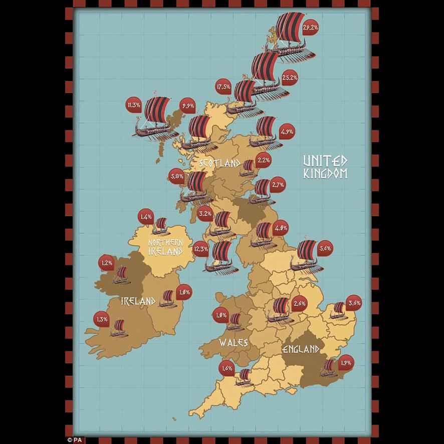 La population de descendants vikings est beaucoup plus importante dans les régions du nord des îles britanniques