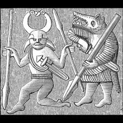 Berserker (ou ulfhedinn) sur une plaque de bonze de Vendel