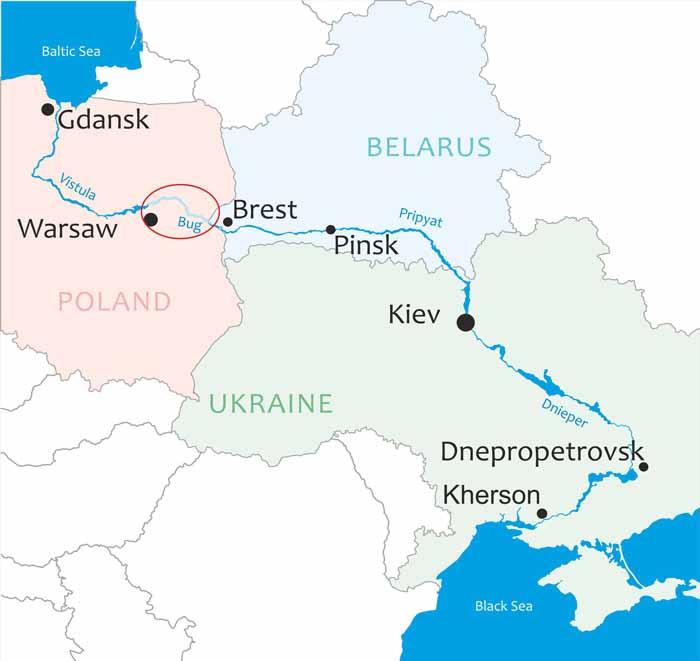 Carte de la nouvelle route de la soie par la commission en charge du projet de la voie navigable E40