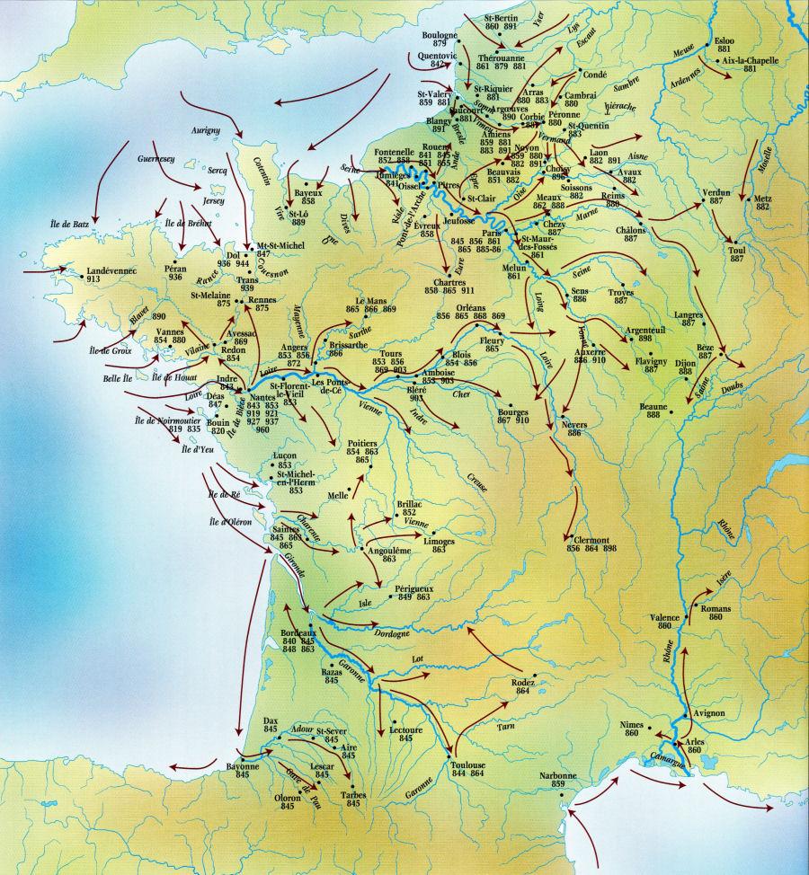 Carte Europe Raid.Carte Des Raids Vikings En France