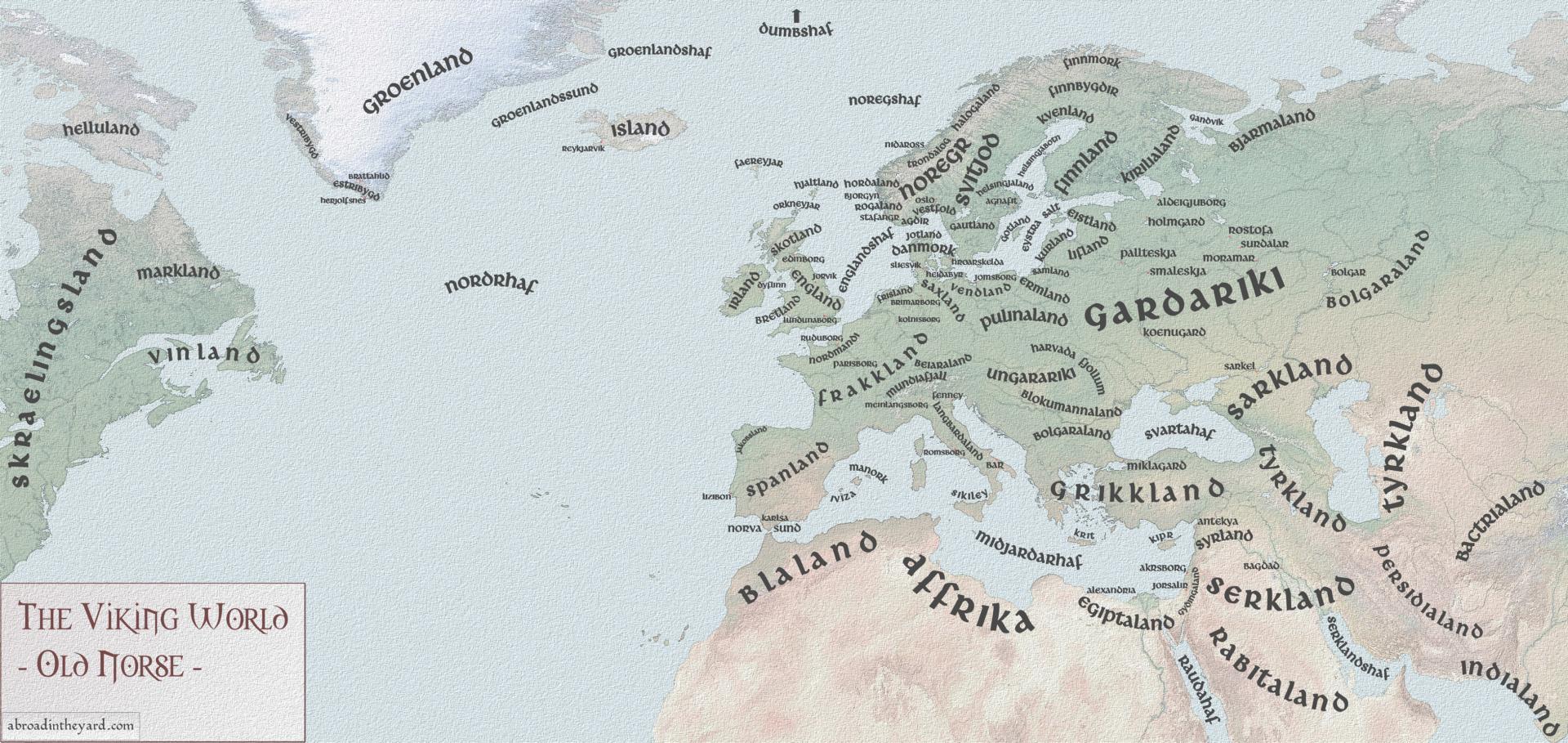 Carte du monde viking en vieux norrois