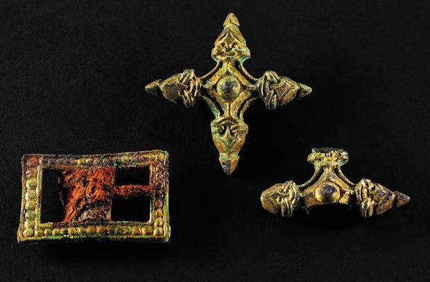 Boucles de harnais découvertes et exposées au musée de Skanderborg - Photo: musée de Skanderborg