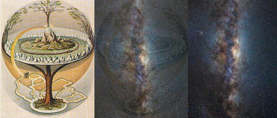 L'Yggdrasil serait la Voie lactée selon Gísli Sigurðsson - Illustration et photo: Wikimedia Commons/ Shutterstock - Montage: Asbjørn Mølgaard Sørensen