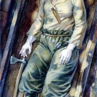 Danemark - Reconstitution de la sépulture d'une possible guerrière slave découverte à Bogøvej, sur l'île de Langeland - Dessin: Mirosław Kuźma
