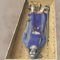 Reconstitution de la sépulture de la völva de Fyrkat, avec une tige métallique et des graines de jusquiame, attributs sourcés d'une völva - Dessin: Thomas Hjejle Bredsdorff