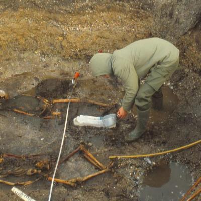 Danemark - Tom Christensen lors des fouilles de la tombe viking de Gerdrup en 1981 - Photo: Roskilde Museum
