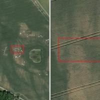 Danemark - Une maison longue de l'Âge Viking révélée par des différences de couleurs sur des images satellites - Photo: Google Earth / Museum Vestsjælland