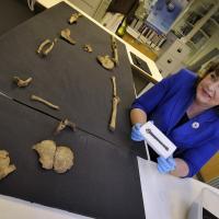 Fiona Hyslop (secrétaire du Cabinet de la Culture et des Affaires extérieures) montre une boucle de ceinture du Xème siècle découverte sur le site d'Auldhame - Photo: Historic Scotland