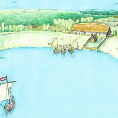 La halle viking est reliée à une grande zone clôturée qui s'étend vers le bassin du port.