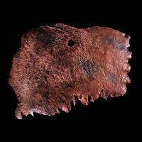 Fragment de crâne de 8,2 cm de long découvert à Ribe comportant une inscription runique qui demande l'aide d'Odin - Photo: Musée national de  Copenhague