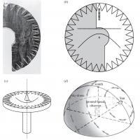 Fragment du cadran solaire en bois découvert au Groenland et gravé de courbes hyperboliques - Illustration Gábor Horváth