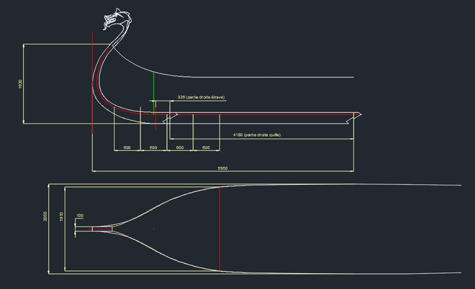 France - Figure de proue et plan détaillé de la quille et de l'étrave du futur bateau viking - Image: Héritage Maritime et Fluvial des Rives de l'Aa