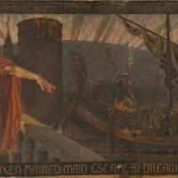 France - Une des septs toiles de l'oeuvre de Walter Crane, The Skeleton in Armor - Image: La Gazette Drouot