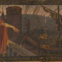 France - Une des septs toiles de l'oeuvre de Walter Crane, The Skeleton in Armor - Image: La Gazette Drouot