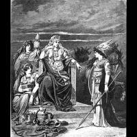 Frigg en compagnie de Fulla et Gná - Illustration: C.E. Doepler