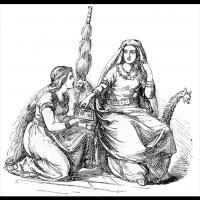 Fulla présentant à Frigg le coffret dont elle a la garde - Illustration: Ludwig Pietsch