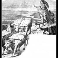 Gefjon avec ses quatres boeufs - Illustration: Karl Ehrenberg