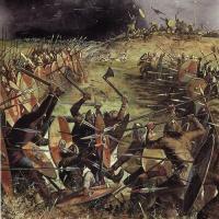 Grande-Bretagne - Le site de la bataille de Brunanburh a été localisée dans la péninsule de Wirral par des archéologues - Illustration: Gerry Embleton