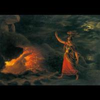 Hervör réveillant le fantôme de son père Angantýr - Peinture:  Christian Gottlieb Kratzenstein Stub