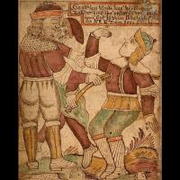 Hodr, manipulé par Loki assassine son frère Baldr - Illustration Ólafur Brynjúlfsson