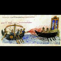 Illustration de l'usage du feu grégeois dans la chronique de Jean Skylitzès de Madrid