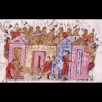 La garde varangienne est reconnaissable à ses haches sur cette planche du Synopsis Historiarum de Jean Skylitzès